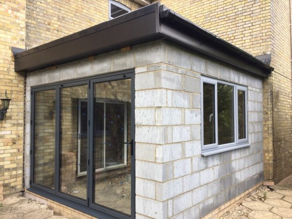 Flat Roof Extension >> Small extension in Huntingdon. Flat Roof and Bifold doors – Apple Home Improvements